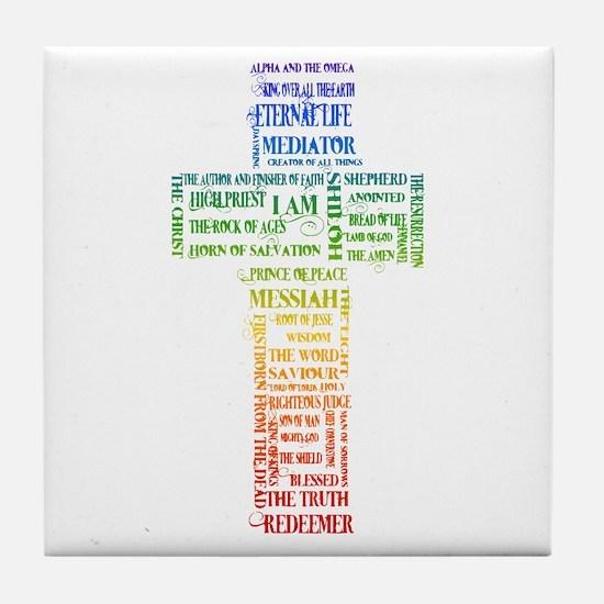 Names of Jesus Cross Tile Coaster