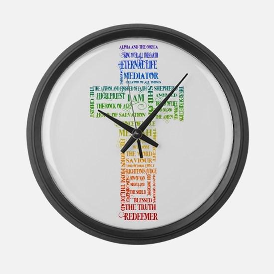 Names of Jesus Cross Large Wall Clock