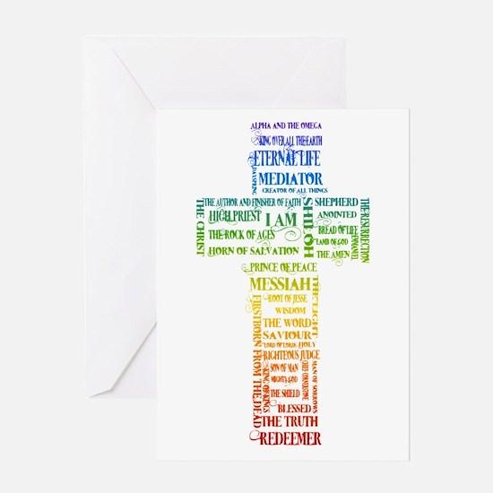 Names of Jesus Cross Greeting Card