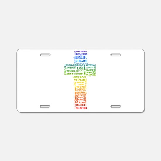 Names of Jesus Cross Aluminum License Plate