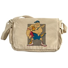 Cartoon Wrestling Messenger Bag