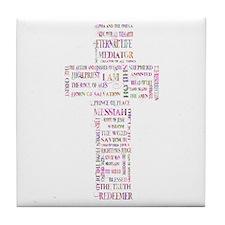 Jesus' Names Cross (pink colorful) Tile Coaster