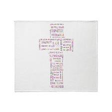 Jesus' Names Cross (pink colorful) Throw Blanket