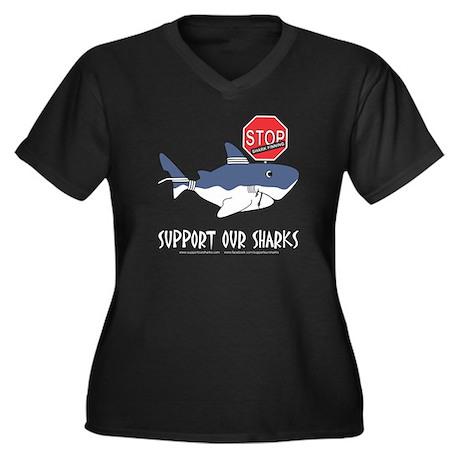 SOS White Shark - Stop Finning Women's Plus Size V