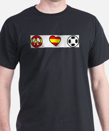 I Love World Cup Soccer Spain Black T-Shirt