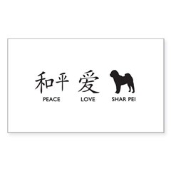Chinese-Peace, Love, Shar Pei Decal