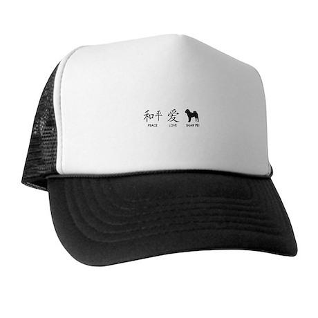 Chinese-Peace, Love, Shar Pei Trucker Hat