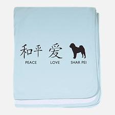 Chinese-Peace, Love, Shar Pei baby blanket