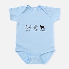 Chinese-Peace, Love, Shar Pei Infant Bodysuit