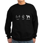 Chinese-Peace, Love, Shar Pei Sweatshirt (dark)