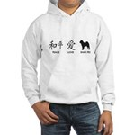 Chinese-Peace, Love, Shar Pei Hooded Sweatshirt