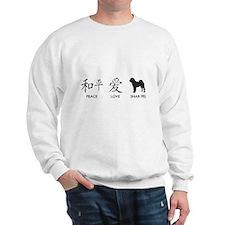 Chinese-Peace, Love, Shar Pei Sweatshirt
