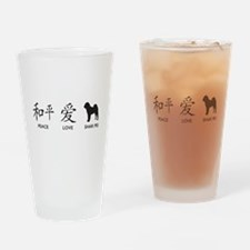 Chinese-Peace, Love, Shar Pei Drinking Glass