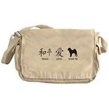 Chinese-Peace, Love, Shar Pei Messenger Bag
