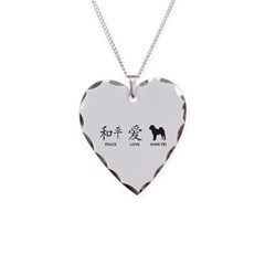 Chinese-Peace, Love, Shar Pei Necklace