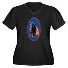gordon setter Patriotic Women's Plus Size V-Neck D
