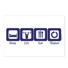 Sleep- Lift- Eat- Repeat Postcards (Package of 8)