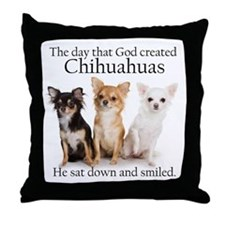 God & Chihuahuas Throw Pillow