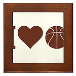 I Love Basketball Brown Framed Tile