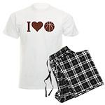 I Love Basketball Brown Men's Light Pajamas