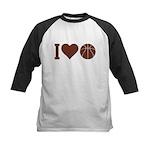 I Love Basketball Brown Kids Baseball Jersey
