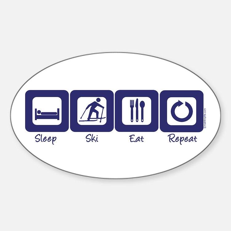 Sleep- Ski- Eat- Repeat Oval Decal