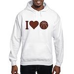I Love Basketball Brown Hooded Sweatshirt