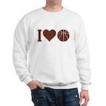 I Love Basketball Brown Sweatshirt