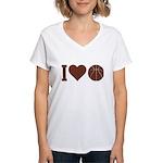 I Love Basketball Brown Women's V-Neck T-Shirt