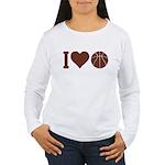 I Love Basketball Brown Women's Long Sleeve T-Shir