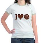 I Love Basketball Brown Jr. Ringer T-Shirt