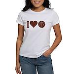 I Love Basketball Brown Women's T-Shirt