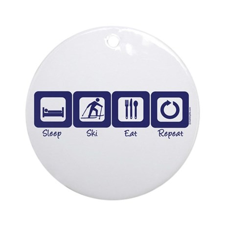 Sleep- Ski- Eat- Repeat Ornament (Round)