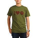 I Love Basketball Brown Organic Men's T-Shirt (dar