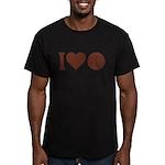 I Love Basketball Brown Men's Fitted T-Shirt (dark