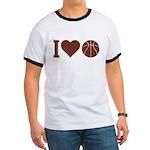 I Love Basketball Brown Ringer T