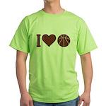 I Love Basketball Brown Green T-Shirt