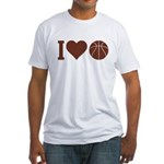 I Love Basketball Brown Fitted T-Shirt