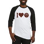 I Love Basketball Brown Baseball Jersey