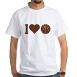 I Love Basketball Brown White T-Shirt