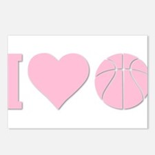 I Love Basketball Pink Postcards (Package of 8)