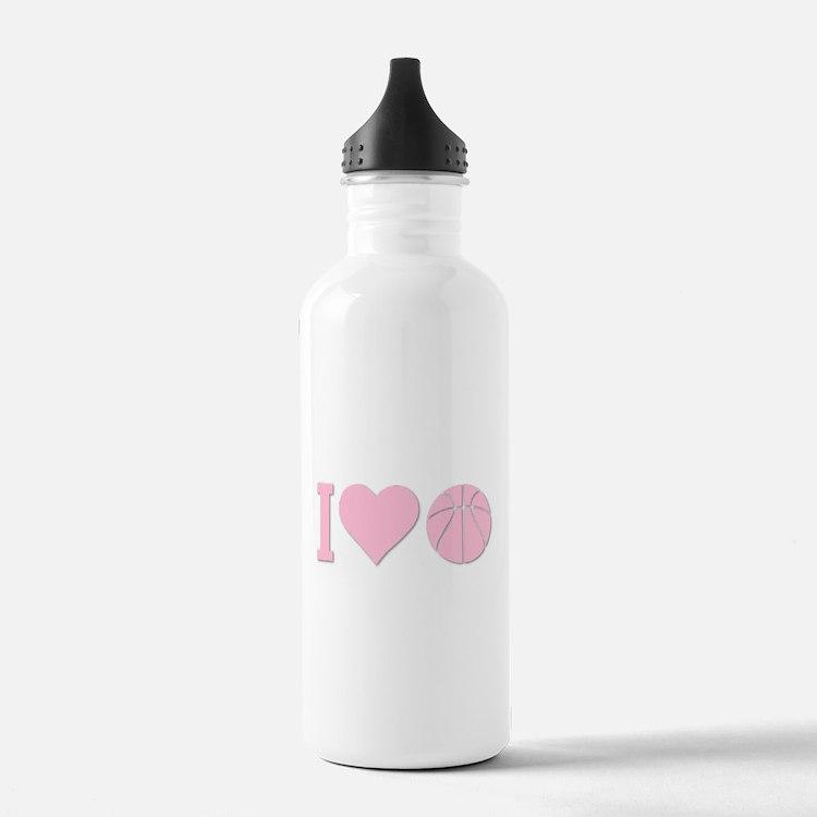 I Love Basketball Pink Water Bottle