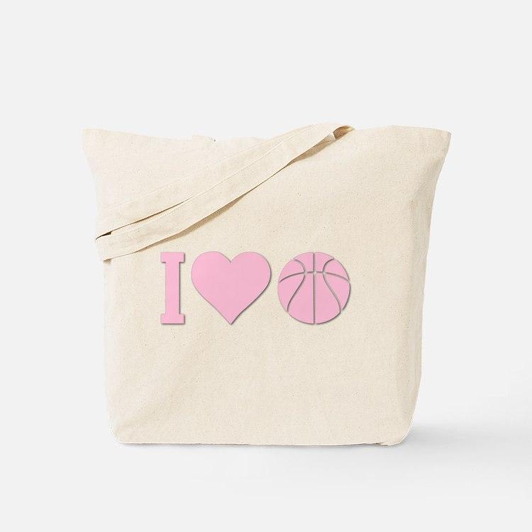 I Love Basketball Pink Tote Bag