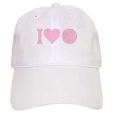 I Love Basketball Pink Baseball Cap