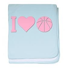 I Love Basketball Pink baby blanket