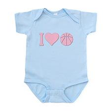 I Love Basketball Pink Onesie