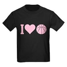 I Love Basketball Pink T