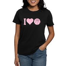 I Love Basketball Pink Tee