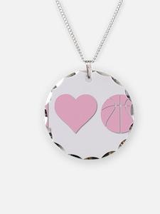 I Love Basketball Pink Necklace