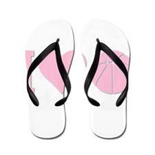 I Love Basketball Pink Flip Flops